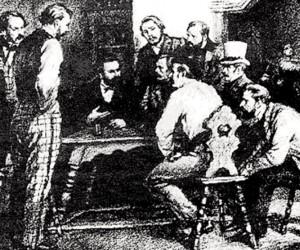 कम्युनिस्ट लीग के साथियों के साथ मार्क्स और एंगेल्स